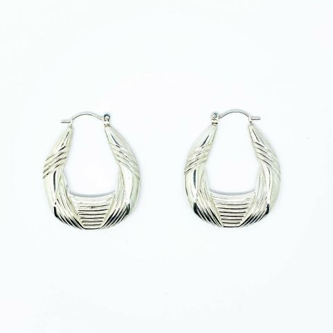 Genuine 925 Sterling Silver Fancy Stripe Creole Earrings available in 2 Sizes